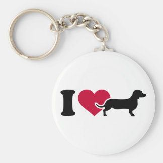 I love Dachshunds Basic Round Button Key Ring