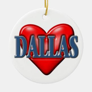 I love Dallas Texas Round Ceramic Decoration