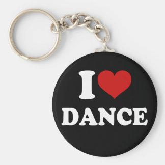 I Love Dance Basic Round Button Key Ring