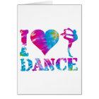 I Love Dance Tie Dye Card