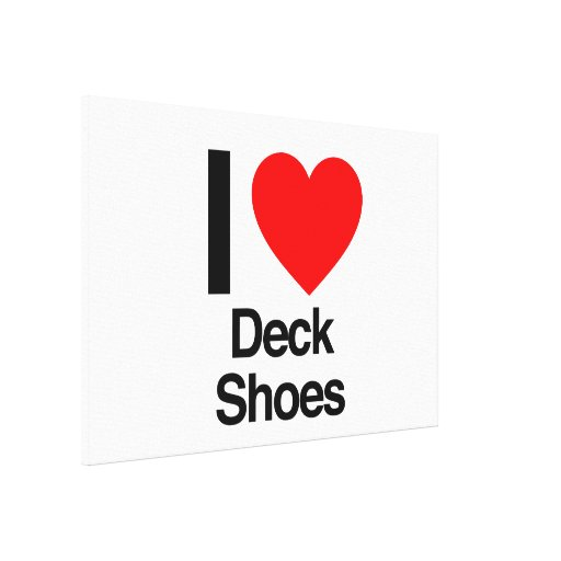 i love deck shoes stretched canvas print