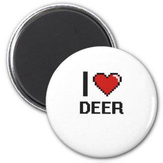 I love Deer Digital Design 6 Cm Round Magnet