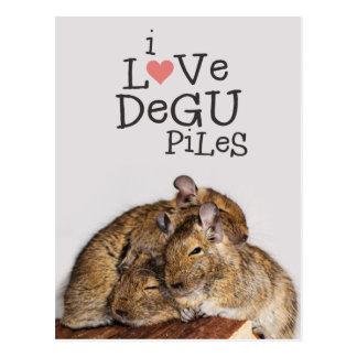 I Love Degu Piles Postcard