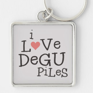 I Love Degu Piles Silver-Colored Square Key Ring