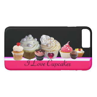 I LOVE DELICIOUS CUPCAKES Pink,Fuchsia White iPhone 8 Plus/7 Plus Case
