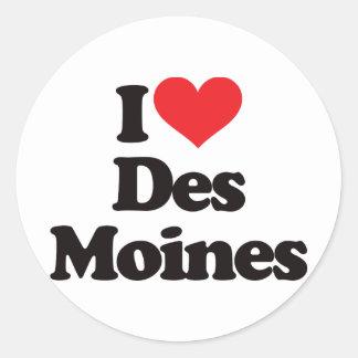 I Love Des Moines Classic Round Sticker