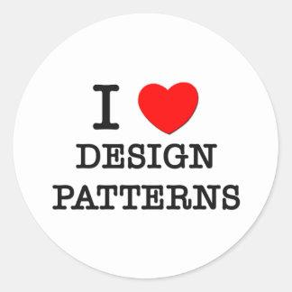 I Love Design Patterns Round Stickers
