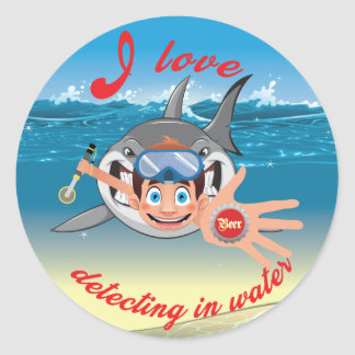 I love detecting in water_Boy Version Classic Round Sticker