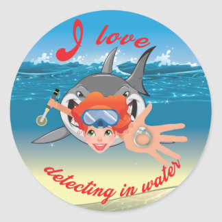 I love detecting in water_Girl Version Classic Round Sticker
