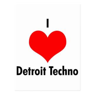 I love detroit techno postcard