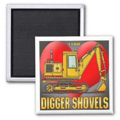 I Love Digger Shovels Magnet