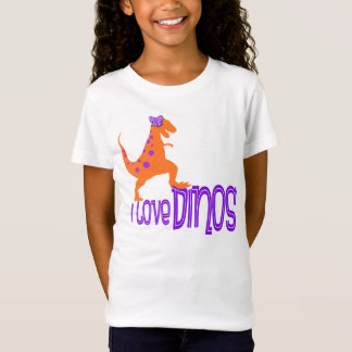 I Love Dinos Tshirt - Purple and Orange
