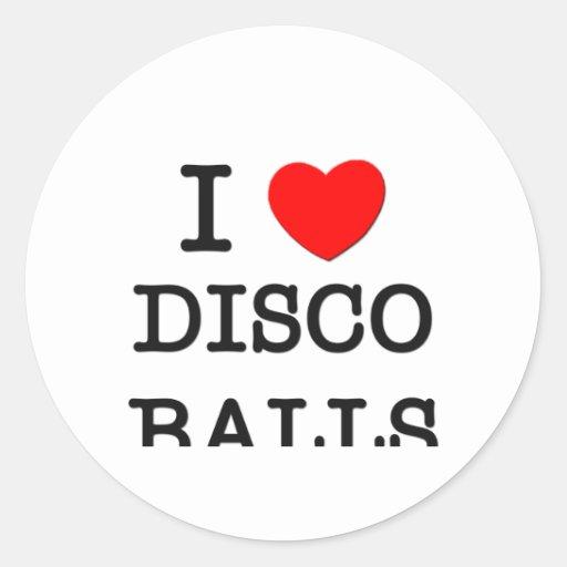 I Love Disco Balls Round Stickers