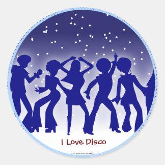 I Love Disco Round Sticker