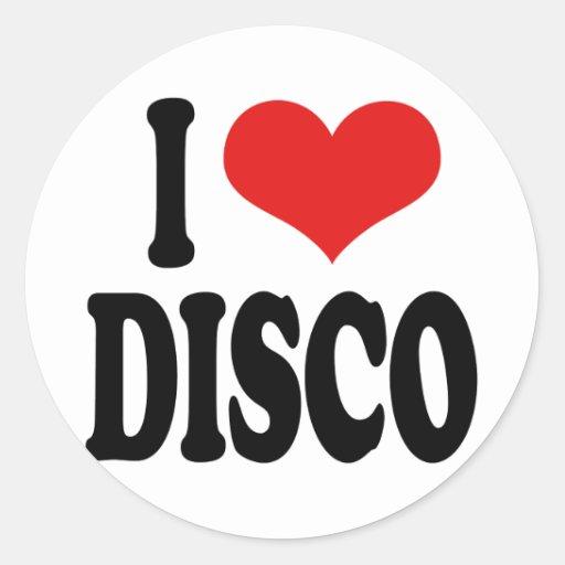 I Love Disco Round Stickers