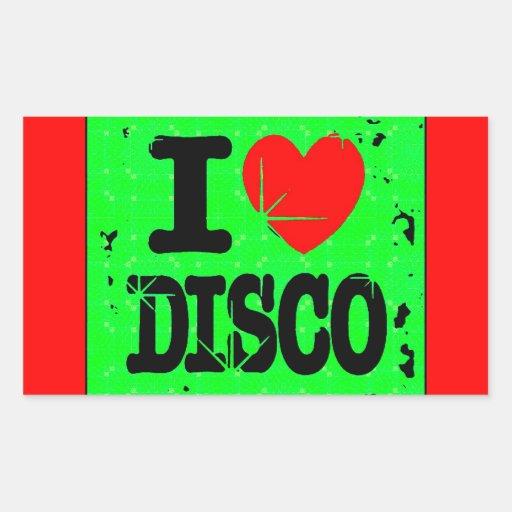 I_Love_Discogreen Rectangular Stickers