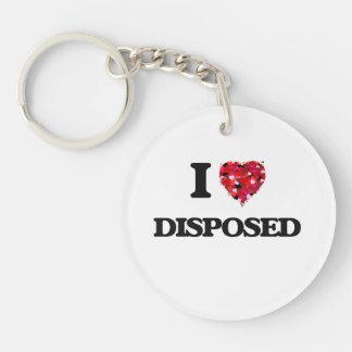 I love Disposed Single-Sided Round Acrylic Key Ring