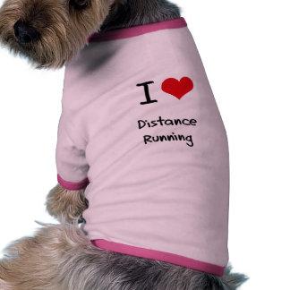 I Love Distance Running Ringer Dog Shirt