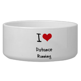 I Love Distance Running Dog Food Bowl