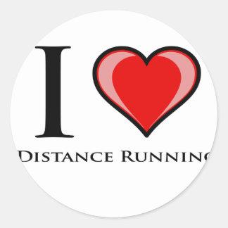 I Love Distance Running Round Sticker