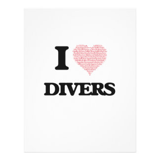 I love Divers (Heart made from words) 21.5 Cm X 28 Cm Flyer