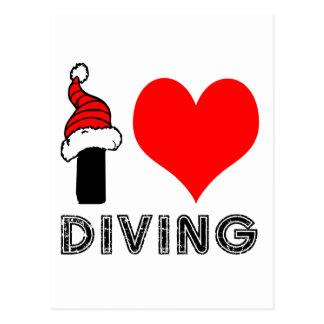 I Love Diving Design Postcard
