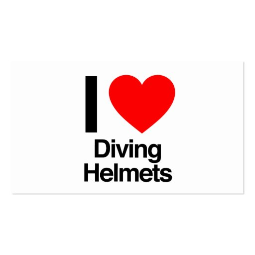 i love diving helmets business card templates
