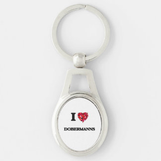 I love Dobermanns Silver-Colored Oval Key Ring