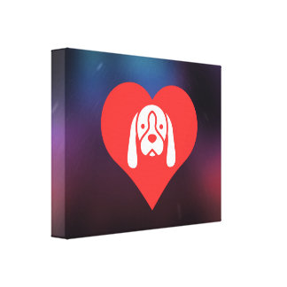 I Love Dogs Cool Icon Stretched Canvas Prints