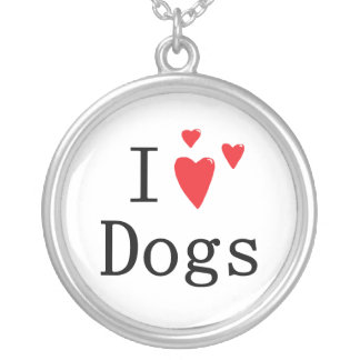 I Love Dogs Round Pendant Necklace