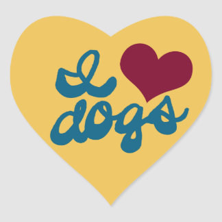 I Love Dogs Heart Sticker