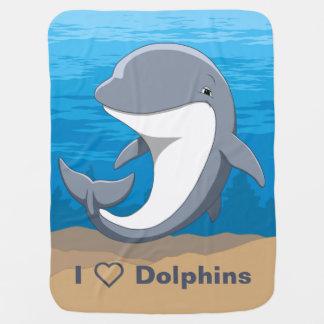 I Love Dolphins Cute Bottlenose Baby Blanket