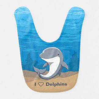 I Love Dolphins Cute Bottlenose Bib