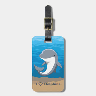 I Love Dolphins Cute Bottlenose Luggage Tag