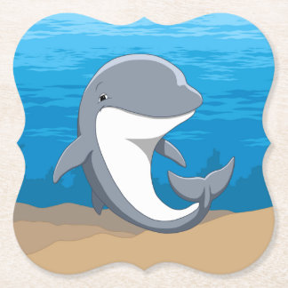 I Love Dolphins Cute Bottlenose Paper Coaster