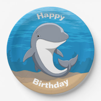 I Love Dolphins Cute Bottlenose Paper Plate