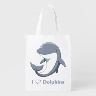 I Love Dolphins Cute Bottlenose Reusable Grocery Bag