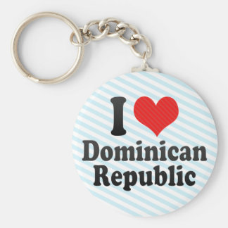 I Love Dominican+Republic Basic Round Button Key Ring