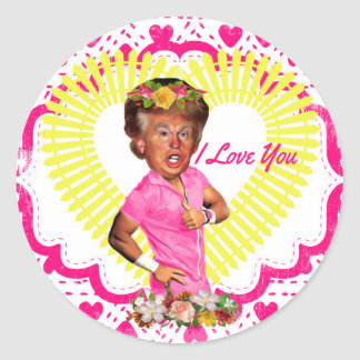 i love donald trump classic round sticker