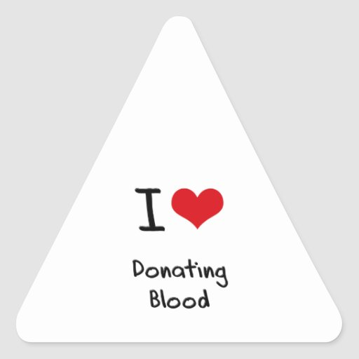 I Love Donating Blood Triangle Stickers