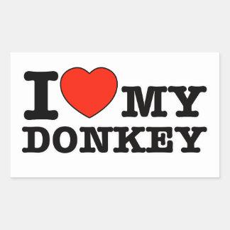 I Love donkey Rectangular Sticker