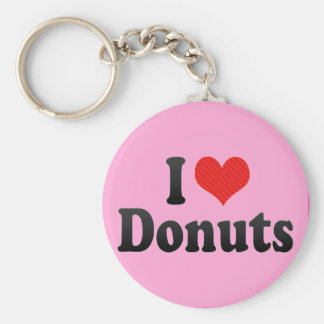 I Love Doughnuts Basic Round Button Key Ring