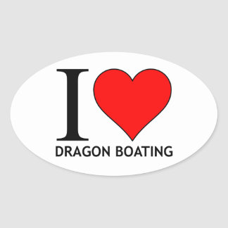 I Love Dragon Boating Range Oval Sticker