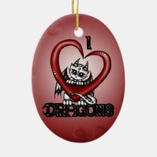 I love Dragons Ceramic Ornament
