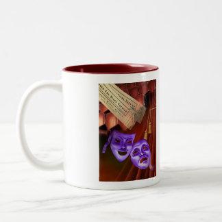 I Love Drama with drama masks on back Two-Tone Coffee Mug
