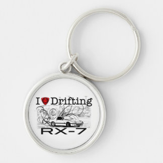 I love drifting RX-7 Silver-Colored Round Key Ring
