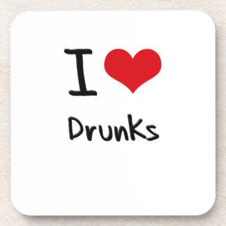 I Love Drunks Drink Coasters
