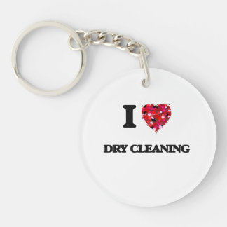 I love Dry Cleaning Single-Sided Round Acrylic Key Ring