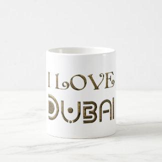 I Love Dubai UAE Golden Typography Text Elegant Coffee Mug