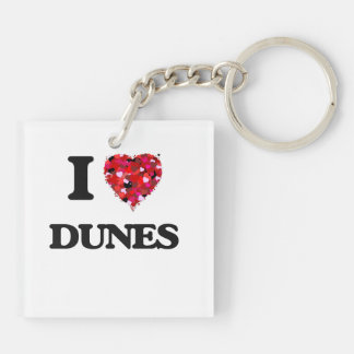 I love Dunes Double-Sided Square Acrylic Key Ring